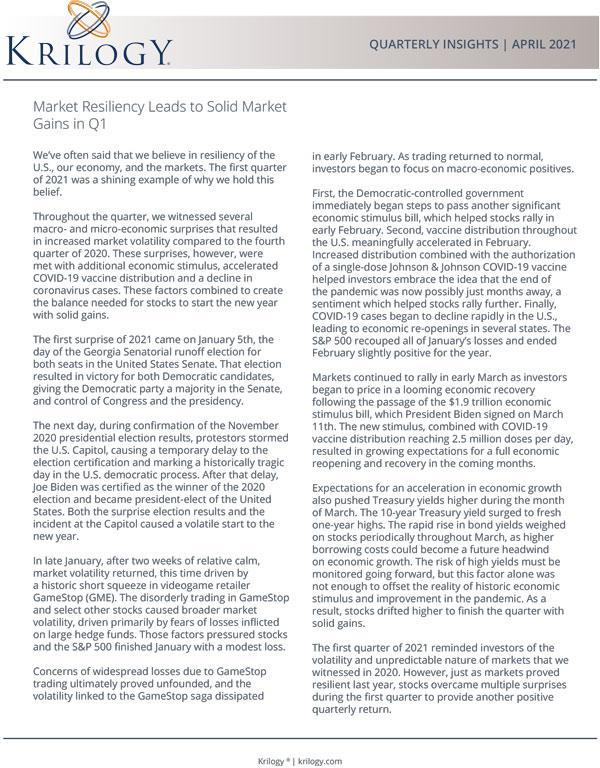 Krilogy Investment Report April 2021