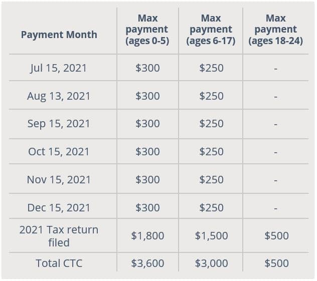 Child Tax Credit Payment Breakdown