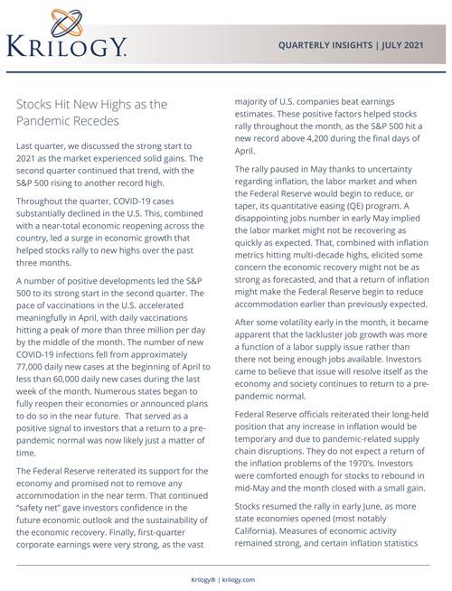 Krilogy Q3 2021 Investment Report